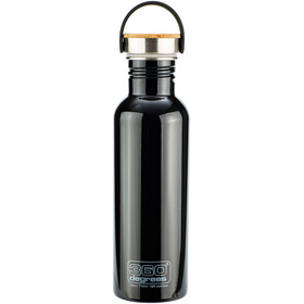 360° degrees Stainless - Gourde - with Bamboo Cap 750ml noir